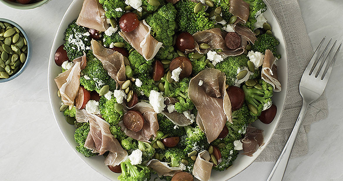 Creamy Broccoli Salad with Grapes and Prosciutto