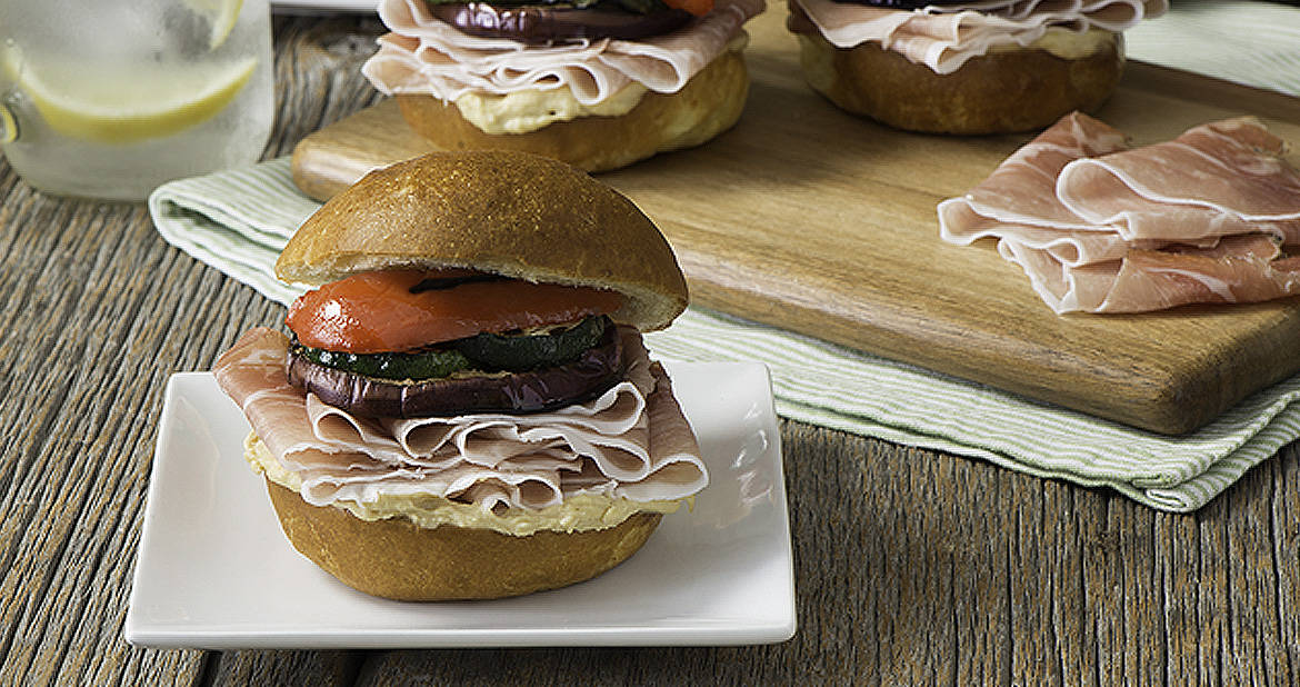 Vegetable and Smoked Prosciutto Sliders