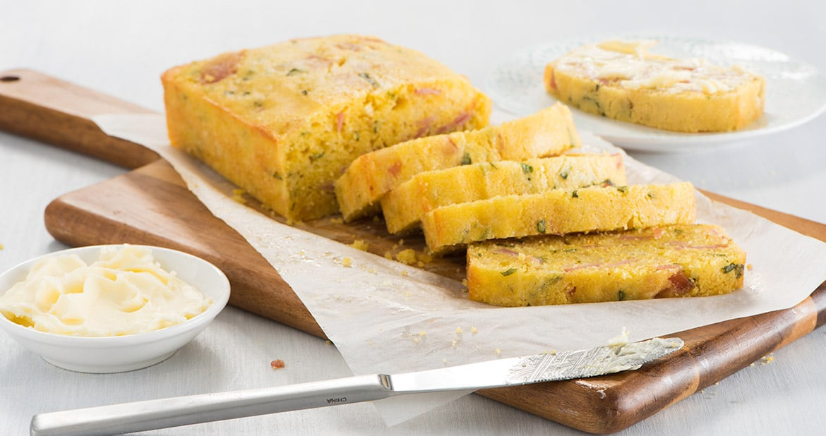 Ham and Basil Polenta Loaf with Asiago Cheese