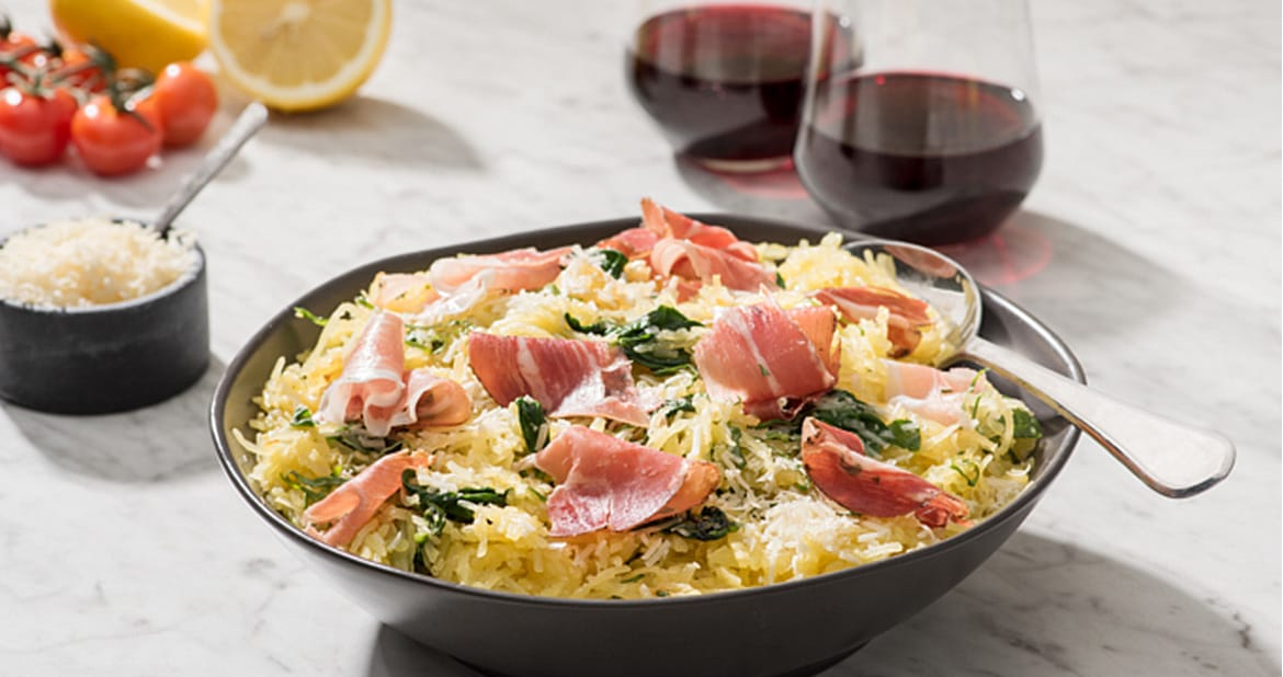 Spaghetti Squash with Smoked Prosciutto and Spinach