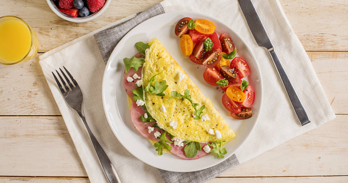Goat Cheese, Capocollo and Arugula Omelette