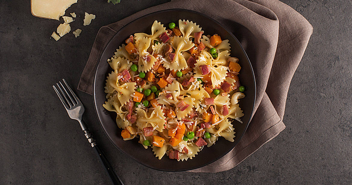Farfalle with Butternut Squash, Pancetta and Sage
