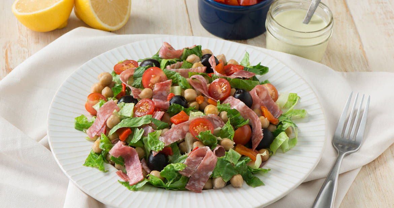Mediterranean Chickpea and Salami Salad