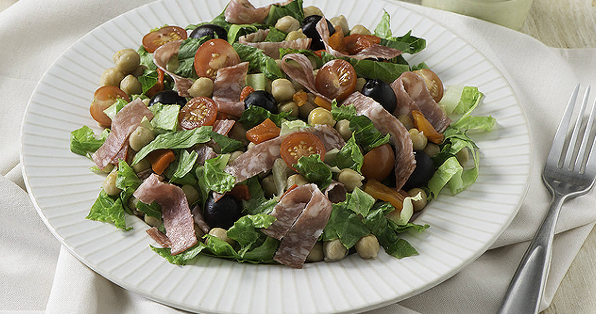 Mediterranean Chickpea and Salami Salad