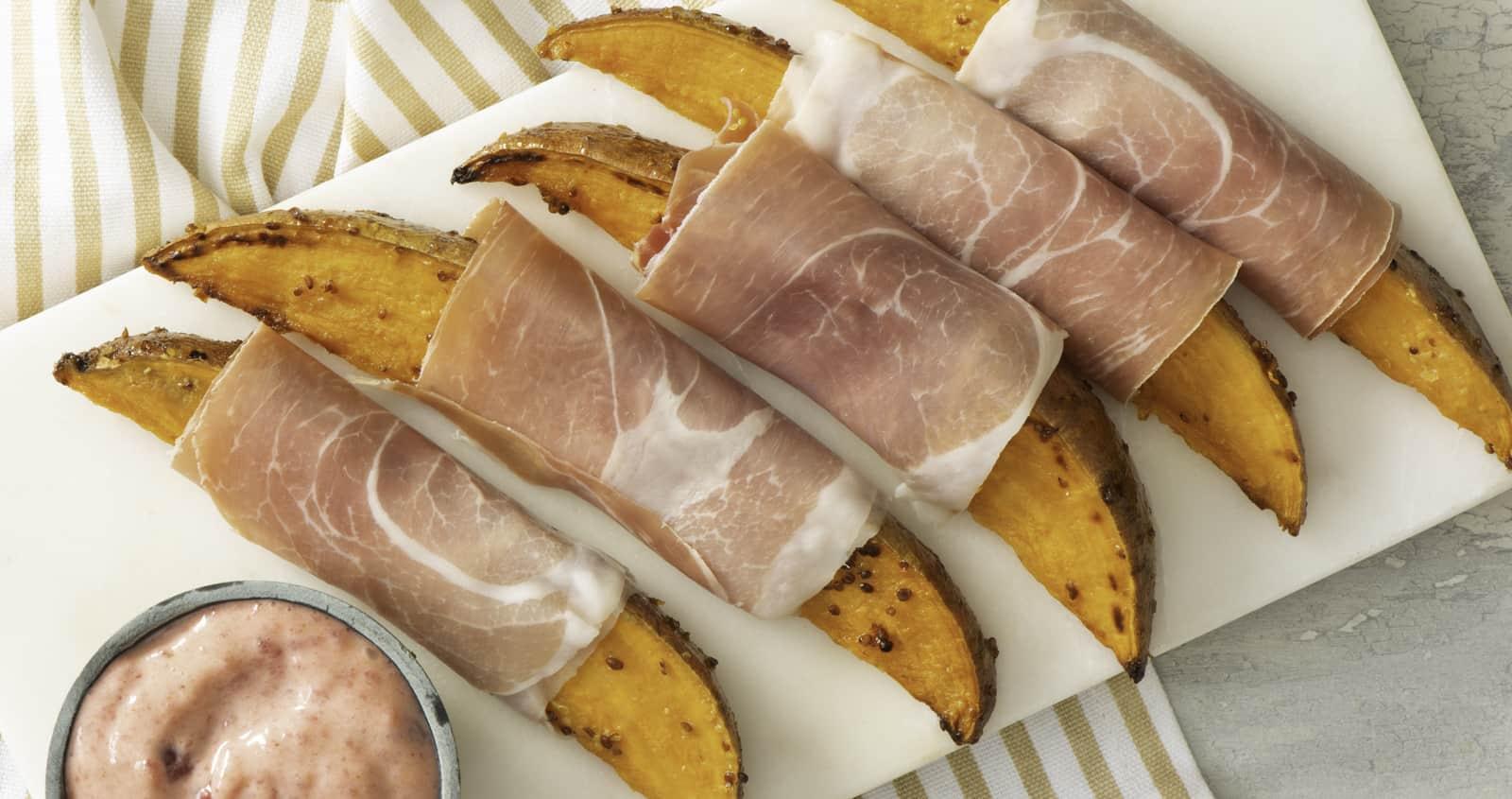 Patate douce enrobée de prosciutto