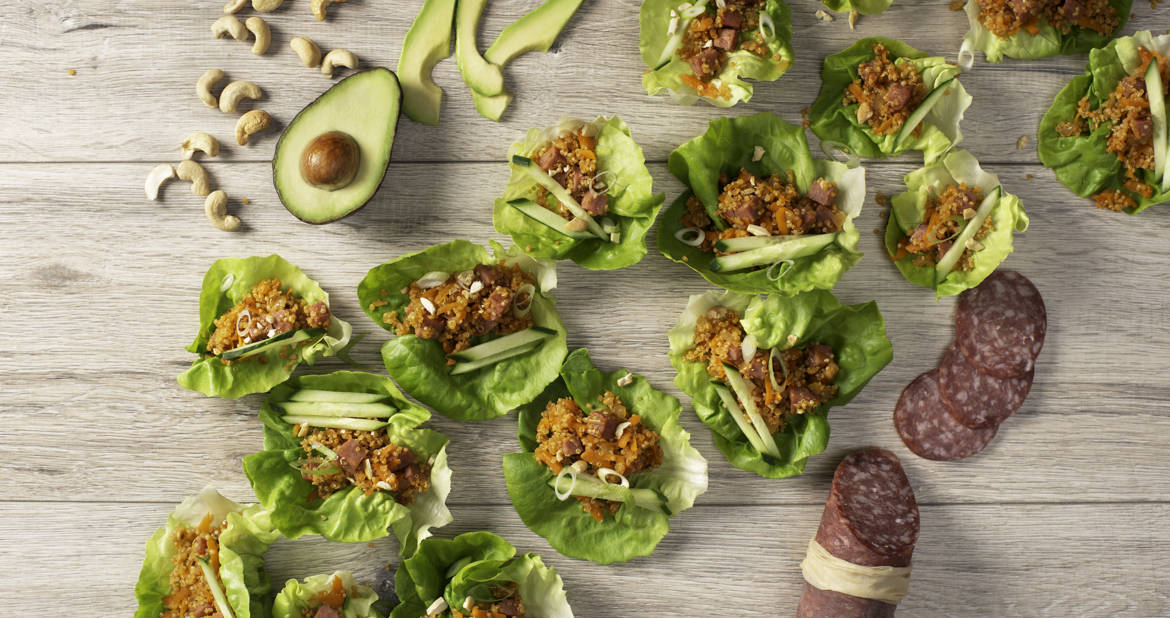 Quinoa and Salametti Lettuce Cups
