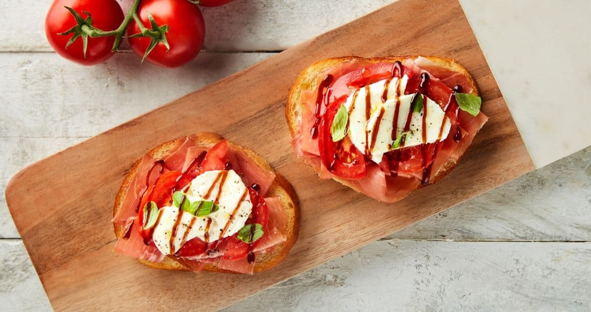 Open Faced Speck-Smoked Prosciutto Caprese Sandwich