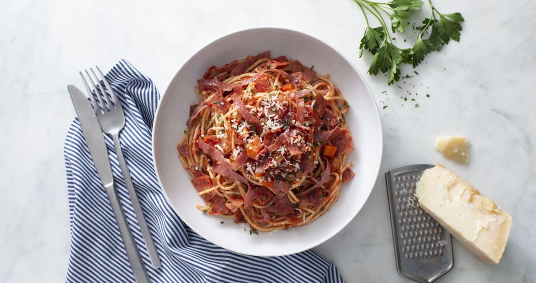 Charcuterie Trio Ragu with Spaghetti