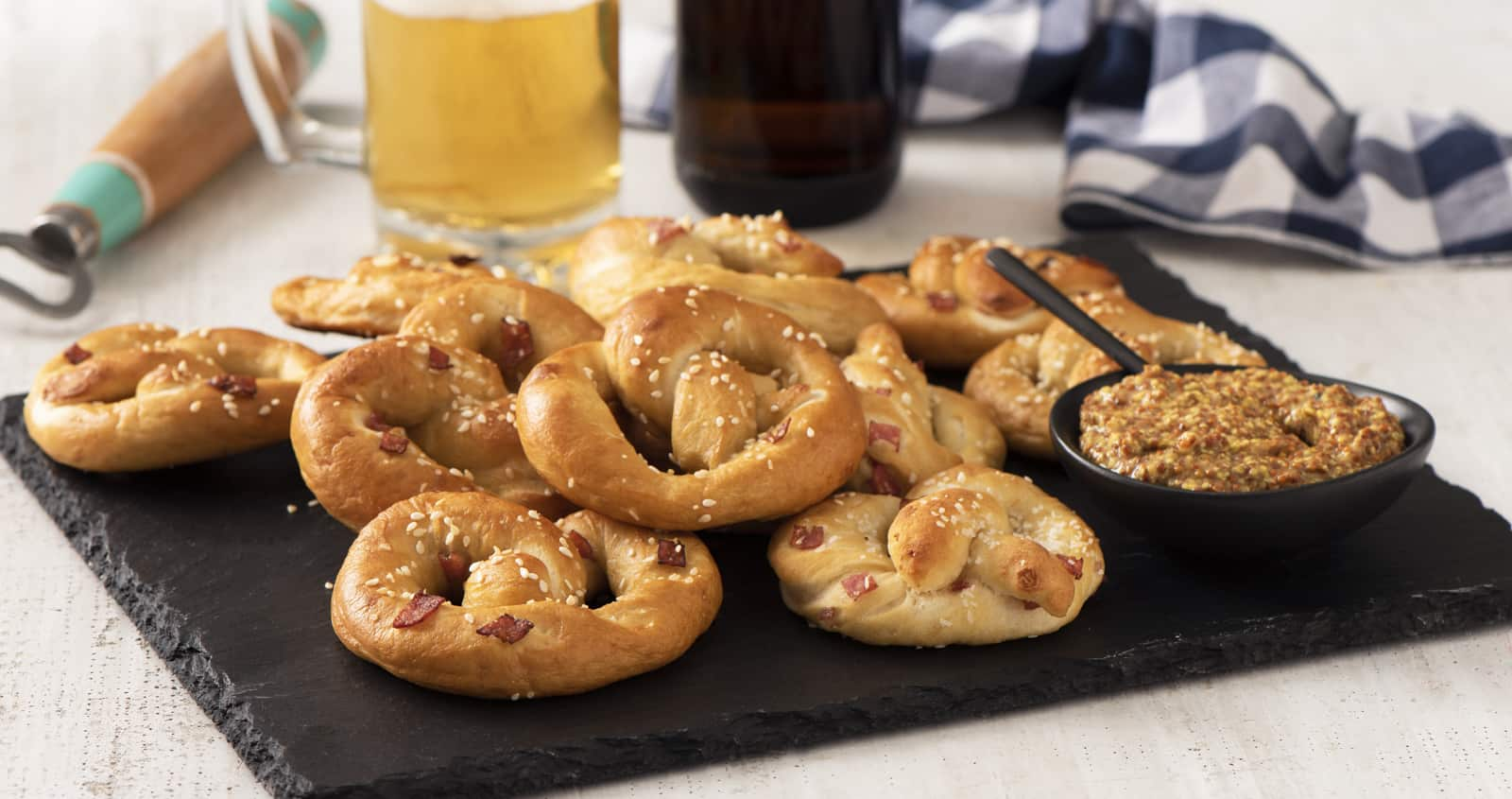 Easy German Soft Pretzels with Salami