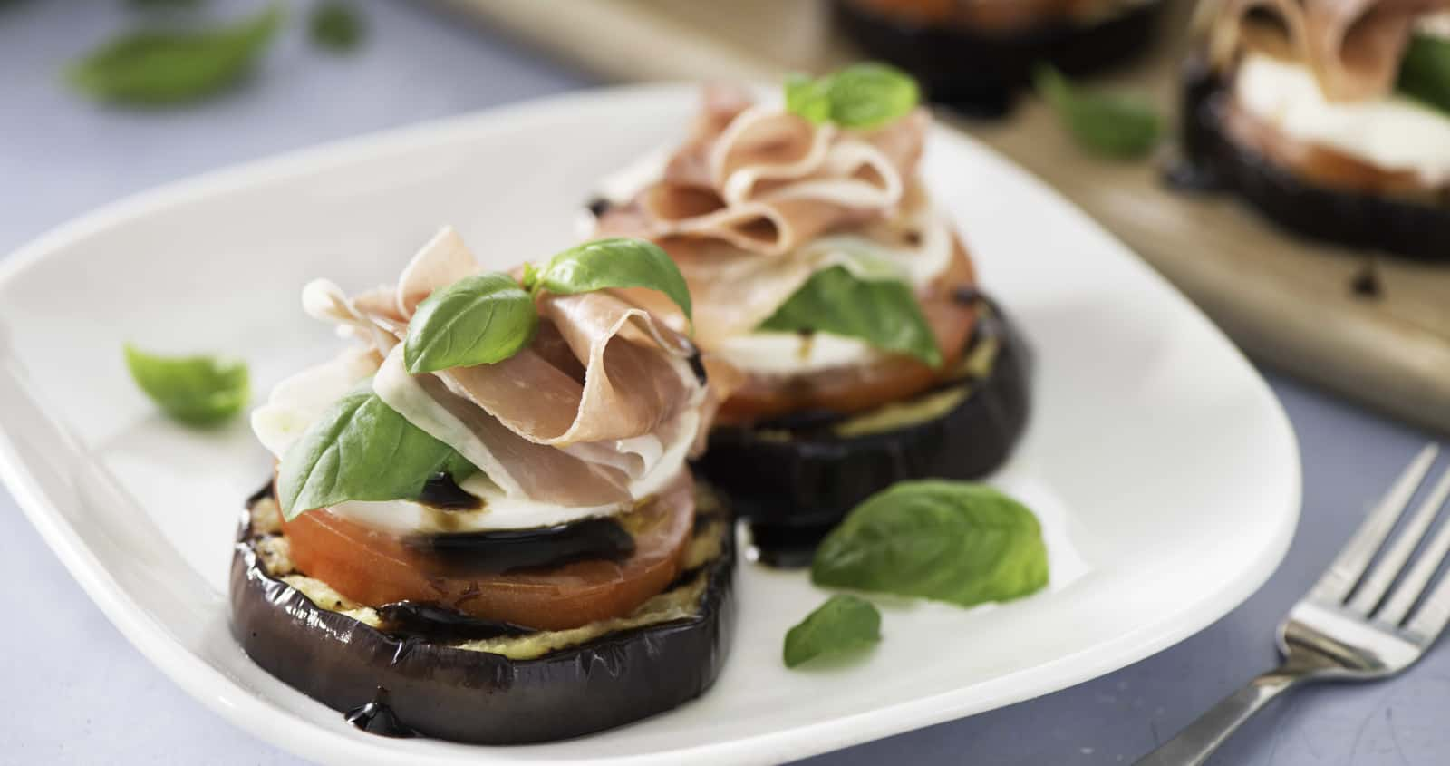Grilled Eggplant and Prosciutto Caprese Stacks