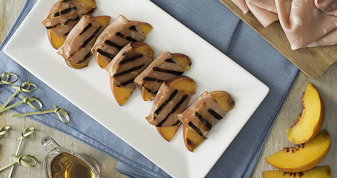 Grilled Mortadella-Wrapped Peaches