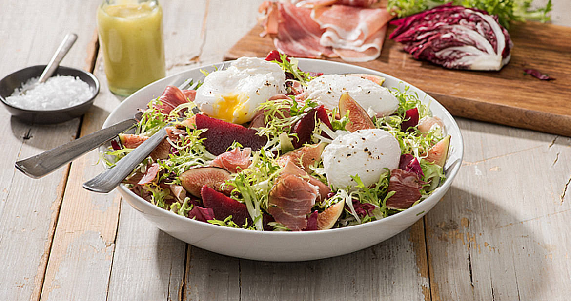 Fig, Beet and Smoked Prosciutto Salad with Poached Eggs