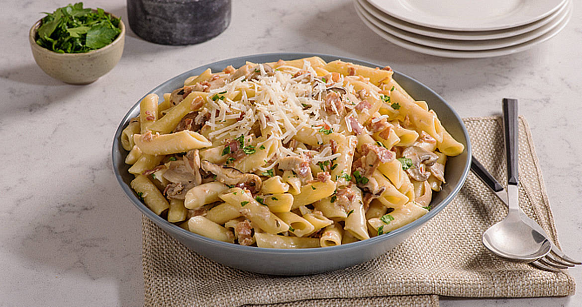 Creamy Penne with Mushrooms and Pancetta