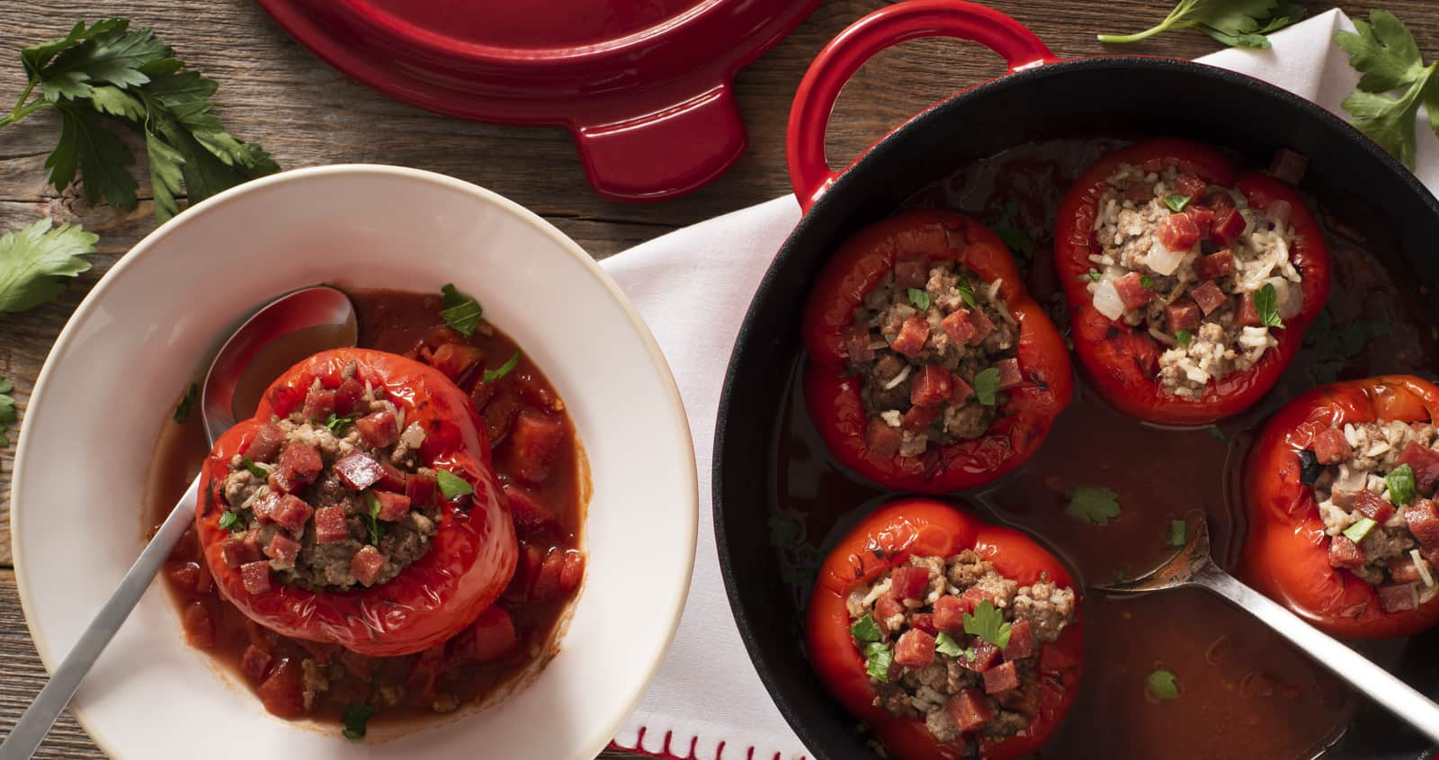Hungarian Stuffed Peppers with Salami