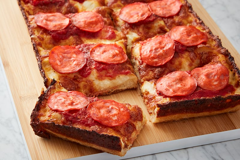 3. Delicious Detroit Style Pepperoni Pizza