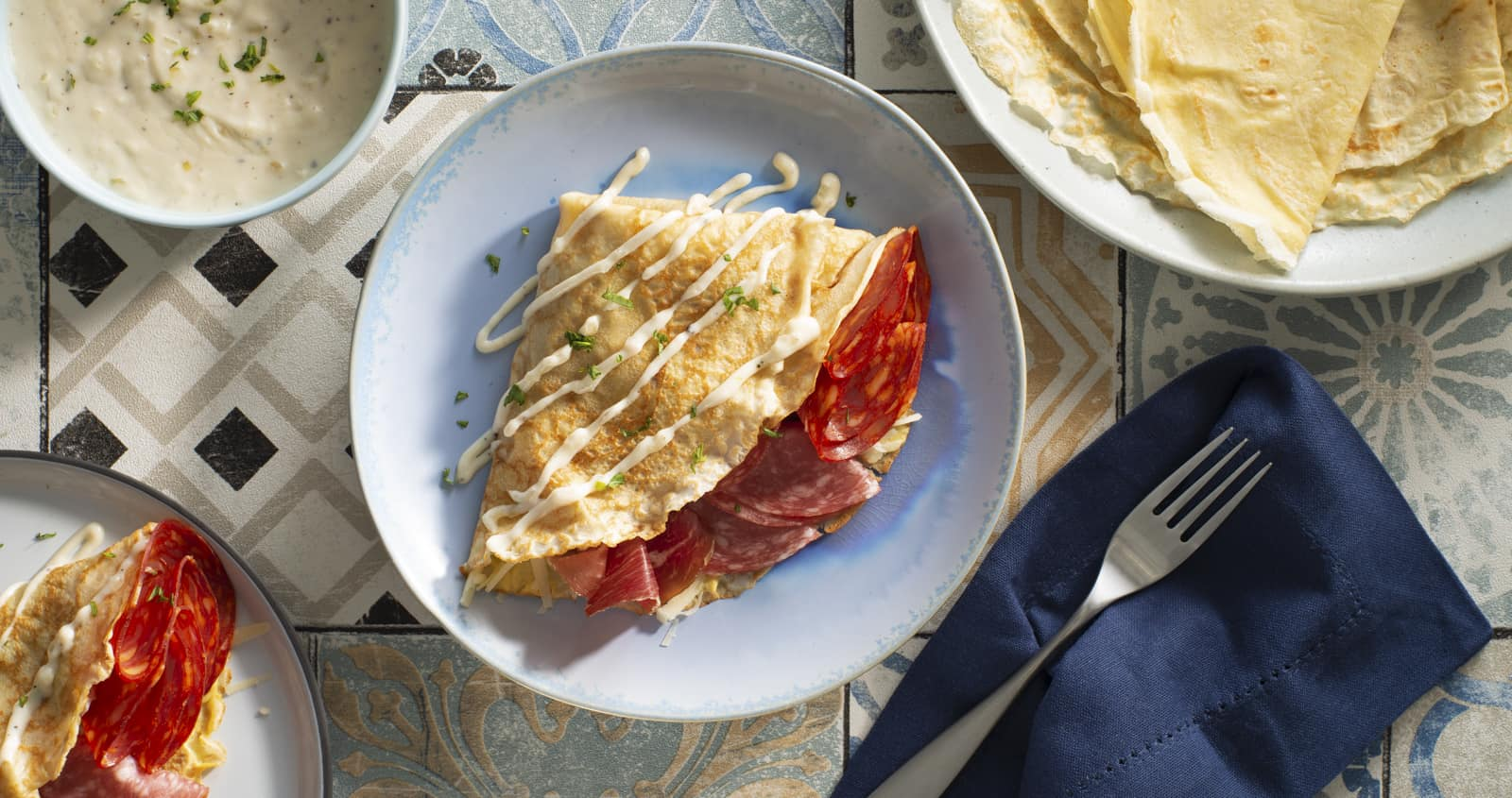 Mediterranean Trio Crepes with Béchamel