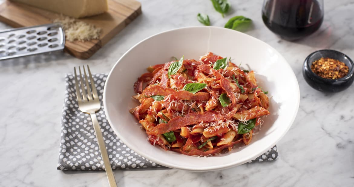 Penne Arrabiata with Hot Calabrese Salami