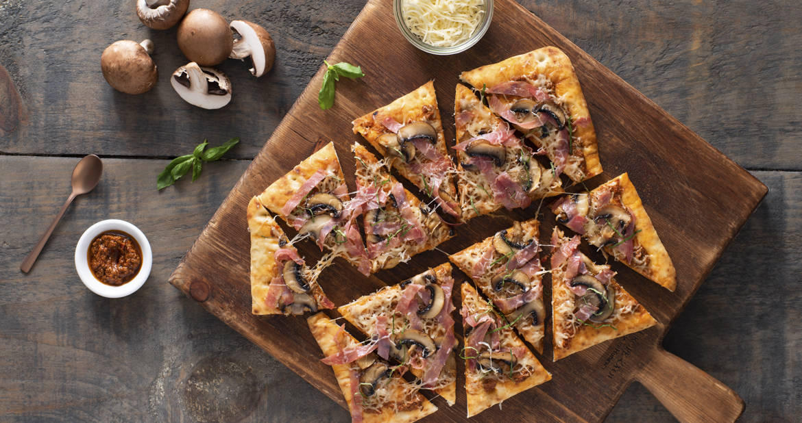 Salami with Prosciutto and Mushroom Flatbread