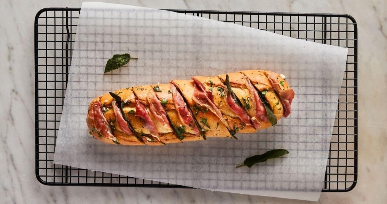 San Daniele Prosciutto and Sage Garlic Bread