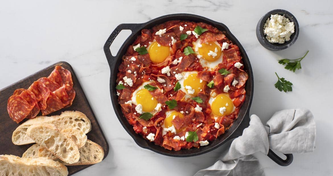 Shakshuka with Feta and Hot Calabrese Salami