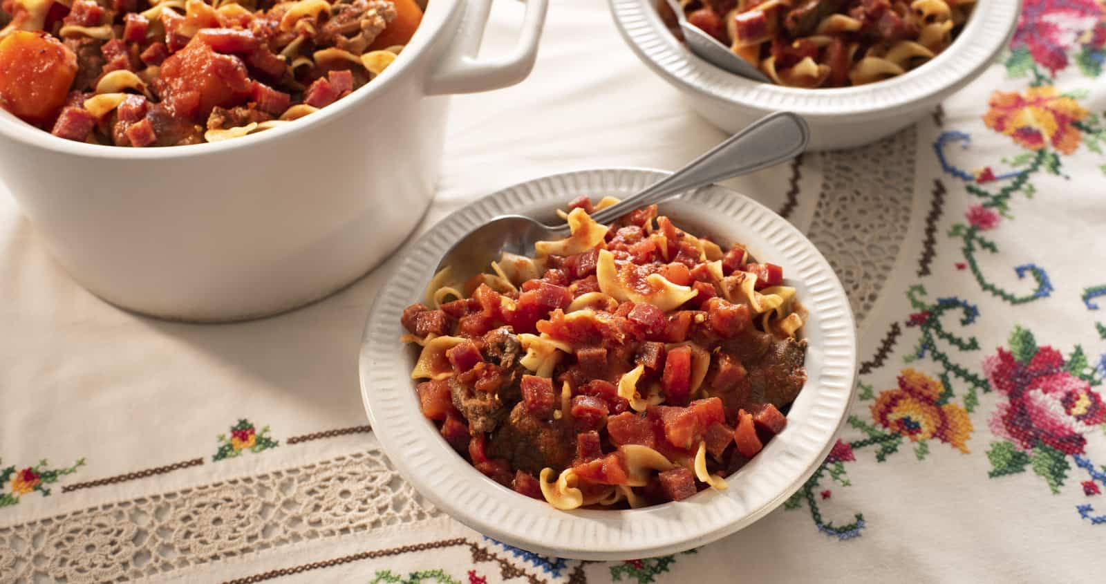Slow Cooker Goulash with Hungarian Salami