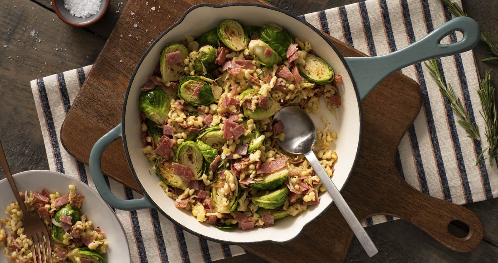 Spaetzle with Salami and Brussels Sprouts