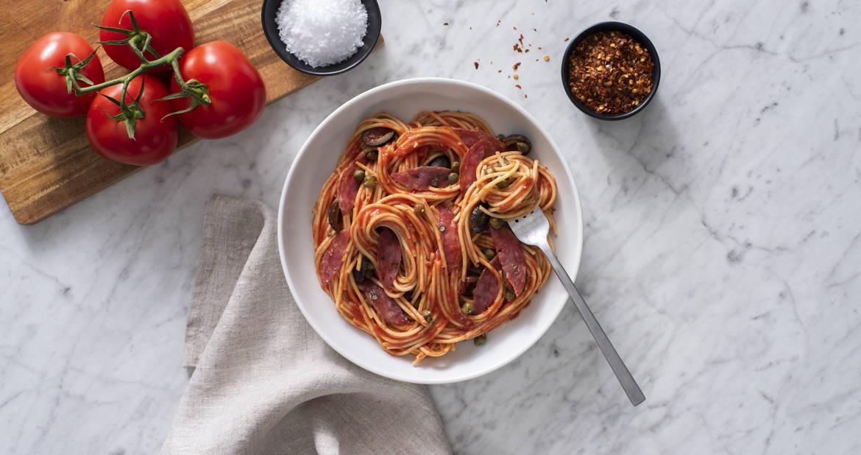 Spaghetti Puttanesca with Genoa Salami