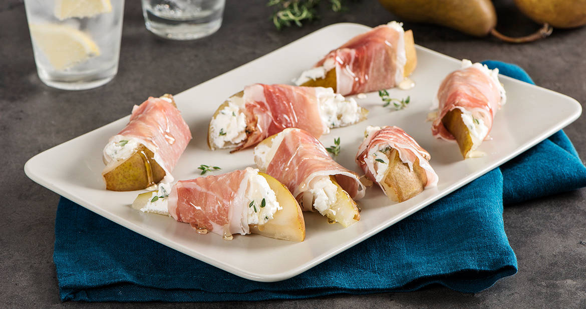 Smoked Prosciutto-Wrapped Pears with Honey and Goat Cheese